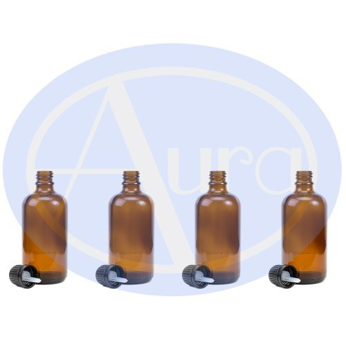 PACK of 4 - 100ml AMBER GLASS Bottles with Black Tamper Evident Caps & Droppers. Essential Oil / Aromatherapy Use.