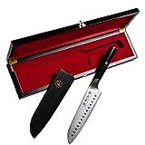 Cuchillo de cocina japonés profesional Santoku, regalo en caja de madera fina, edición limitada