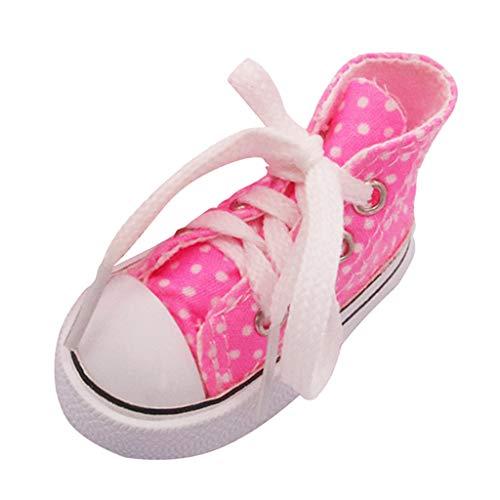 Hellery 7,5 Cm Encantadores Zapatos con Cordones 1/3 Zapatos de Muñeca Niños Accesorios de Disfraces de Bricolaje - Rosado