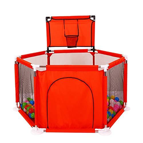 LITIAN Indoor Games Krabbeln Zaun Baby-Kleinkind Zaun Sicherheit Kinder Zaun Spiel Protective Werfen Basketball Pool (ohne Ozean Ball) Red