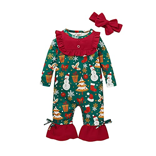 Mameluco de Navidad para recién nacido, mameluco de mi primera Navidad, para la cabeza, ropa de Navidad, para bebés y niñas, mono largo con diadema, verde, 3...