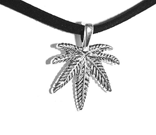 2LIVEfor Kropfbänder Halskette schwarz Silber Halskette Hanf Schmuck Damen Kurz Choker Gothic Punk Stil Blätter Schwarze Kette Hanfblatt Kette Blatt Gras Pott