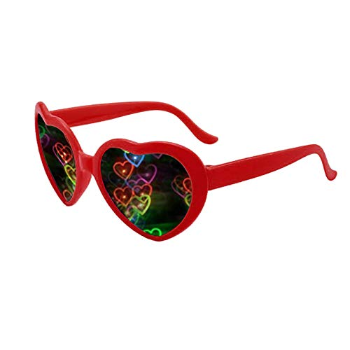 Heart Effect Diffraction Glasses - See Hearts - Rave Lights Glasses Heart Shaped Special Effect EDM Festival Light Changing Eyewear for Outdoor Mother's Day Christmas Wedding Party