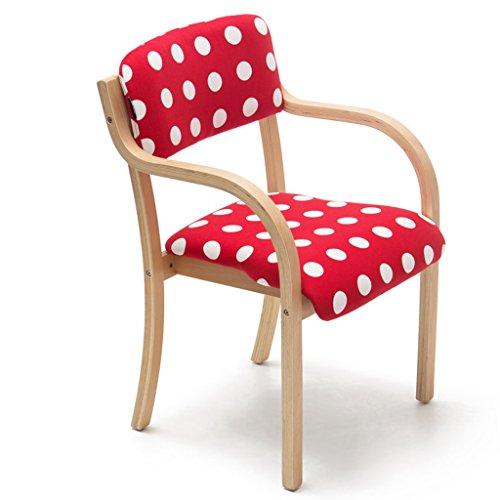 Chaises Chaises de salle à manger Chaises simples Chaises de loisirs Bois massif Tissu Table à manger Chaises Lavable Sédentaire Confortable (Color : Bright red)