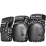 Dark Lighting Knee Pads and Elbow Pads for Kids/Youth 8-14,Boy and Girls MTB/Scooter/Skateboard/Roller 2 in 1 Protective Gear Set(Silver Lightning, M)