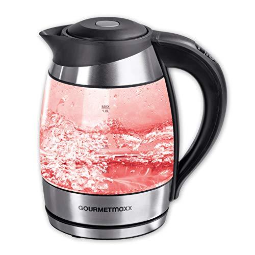 GOURMETmaxx Wasserkocher Glas Temperaturwahl/LED 2200 W