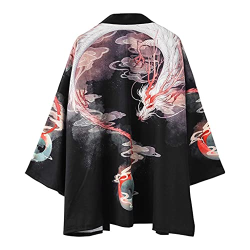 Tomwell Kimono Giapponese, Yukata Haori Uomo Kimono Giapponese Cardigan Uomo Samurai Costume Abbigliamento Giacca Kimono Mens Camicia Kimono Yukata Haori,Black-Medium A L