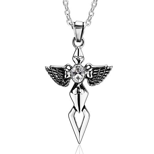 Daesar Unisex Necklace Silver White, Womens Mens Necklace Stainless Steel Necklace Pendant Cross Wings Cubic Zirconia Pendant Necklace Silver White