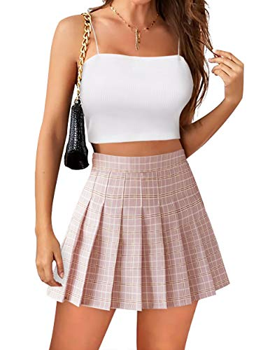 Womens Mini Pleated Skirt High Waisted Skater Tennis Skirts Skorts with Shorts School Girl Uniform (#2 Pink Plaid, 2)