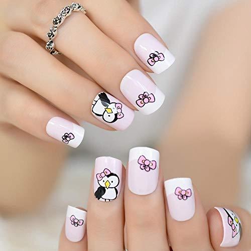 CLOAAE Baby Pink And White French False Nail Tips Cute Cartoon Penguin Print Square False Nails Full Cover Artificial Fake Nail