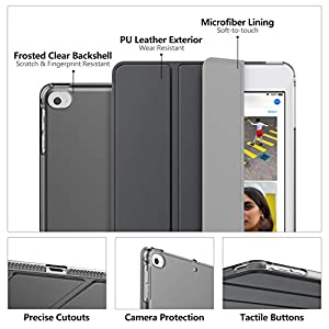 MoKo Case Fit New iPad Mini 5 2019 (5th Generation 7.9 inch) - Slim Lightweight Smart Shell Stand Cover with Translucent Frosted Back Protector, with Auto Wake/Sleep - Space Gray