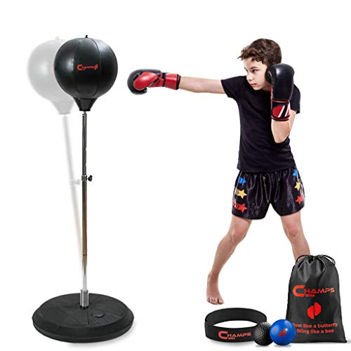 Champs MMA Beginner Boxing Freestanding Reflex Bag – Reflex Punching Bag with Stand and Pump + 2 Reflex Balls for Agility, Hand-Eye Coordination, and Stamina – Free Standing Boxing Bag for Kids