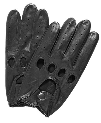 Silverstone Our Bestselling Men's Leather Driving Gloves Size M Black