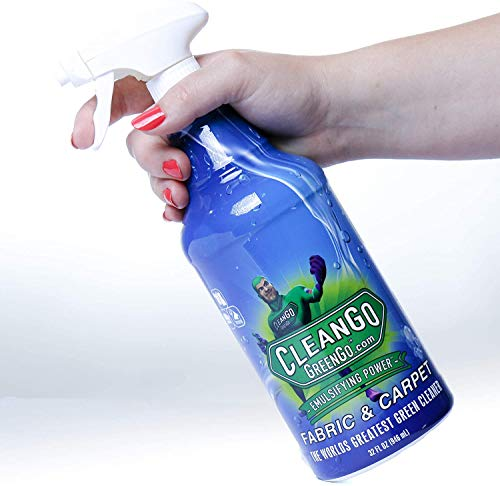 CleanGo GreenGo Fabric & Carpet - Non-Toxic Upholstery Carpet Spot Cleaner and Stain Remover for Grease Red Wine Blood and Pet Stains On All Types Fabric and Carpet. Eco-Friendly 32 Oz Spray Bottle!