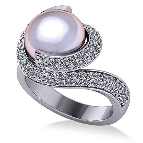 Anillo de compromiso con forma de perla y diamantes en oro blanco de 14 k 10 mm (0.96ct), Anillo de compromiso con diamantes para siempre, Alianza, Anillo de oro con forma de promesa