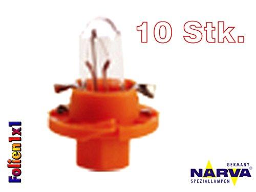 Narva Pilotlampe, 1,1W, Bx8.4d Paneel, 12V, Orange, 10Stück