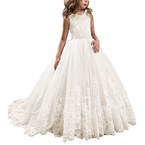 Princess Ivory Long Girls Pageant Dresses Kids Prom Puffy Tulle Ball Gown US 4