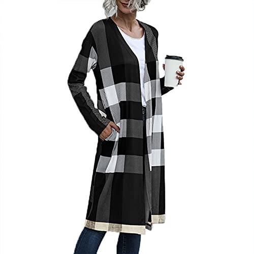 Herbst Und Winter Casual Fashion Damen V-Ausschnitt Plaid Print Langarm Lose AufgeknöPfte Gerade Strickjacke DüNner Mantel Mittellanger Mantel Damen