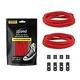 Xpand Lacets de chaussures élastiques, plats, avec tension réglable, sans nœud, compatibles avec toutes les chaussures - Rouge - rouge, Taille unique EU