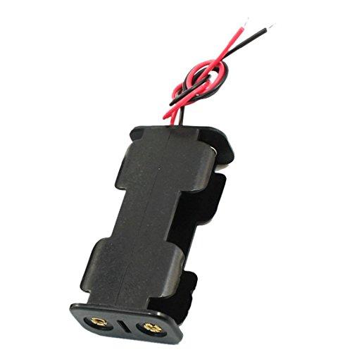 SODIAL Boitier à ouverture double pour 2 piles AA 1,5 V Noir