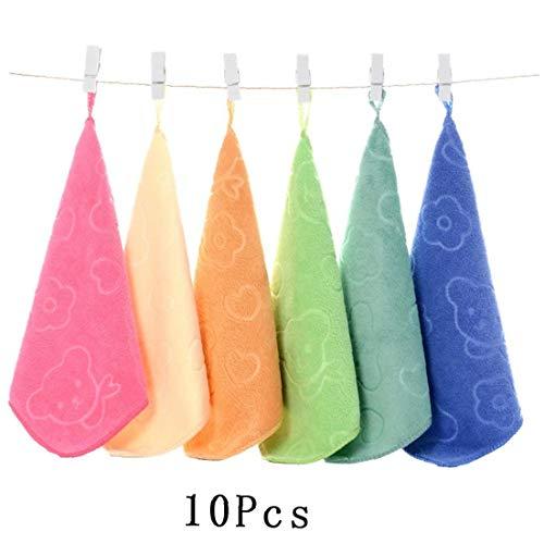 10pcs / Juego De Toallas De Microfibra Suave para El Bebé Cuidado De Toallas De La Historieta con Un Absorbente Fuerte Diseñado Toalla De Tela Lavada Regalo (Color Al Azar)