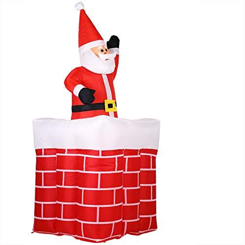 Père Noël gonflable cheminée 178 cm rouge/blanc décoration fête noël 2x LEDs 4x piquets de terre IP44 lumineux intérieur et extérieur