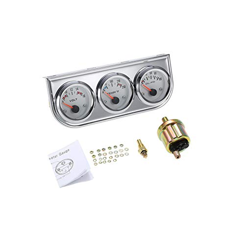 3 in 1 Car Meter Auto Gauge(Voltmeter + Water Gauge + Oil Press Gauge),2' Chrome Voltage Gauge Water Temp Gauge Oil Pressure Sensor 12V 52mm Triple Gauge Kit (Fahrenheit White dial face)