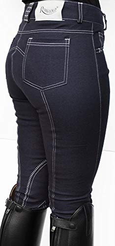 Rhinegold Unisex Crystal Trim Denim Jodhpurs Jeans-Reithose mit Kristallbesatz, Gr. 40, UK12 (EU