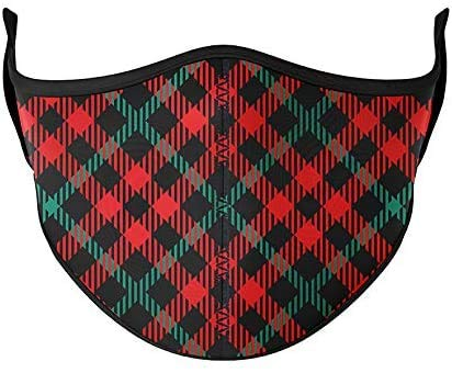 Top Trenz Mask Made with Stretch Cloth for Everyday Indoor/Outdoor Use - RED Plaid - Adult Large