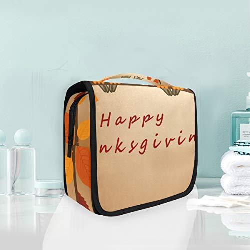 LUPINZ Sac de toilette pour salle de bain Happy Thanksgiving mignon chouette sac de rangement pour cosmétiques
