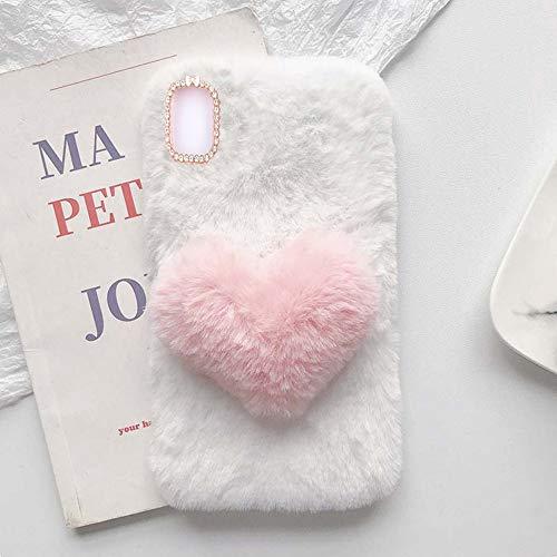 YHY Linda Funda Teléfono con Forma Corazón Felpa para Xiaomi Redmi K40 5G Funda Teléfono Romántica Creativa Moda Blanca