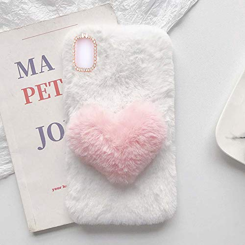 YHY Linda Funda Teléfono con Forma Corazón Felpa para Samsung Galaxy S21 FE Funda Teléfono Romántica Creativa Moda Blanca
