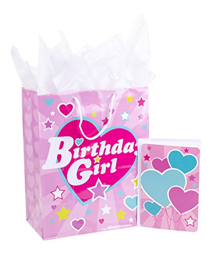Hallmark 13' Large Gift Bag with Birthday Card and Tissue Paper (Pink Heart, Birthday Girl)