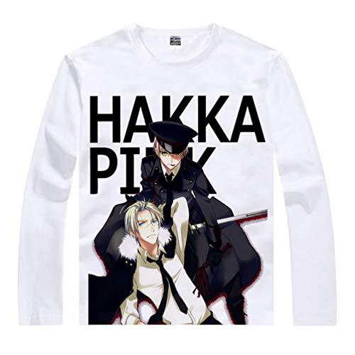 WANHONGYUE Anime APH Hetalia Axis Powers T-Shirt Camiseta de Manga Larga Cosplay Disfraz Pullover Suéter Tops Sweat Shirt para Hombre Mujer Blanco/9 S
