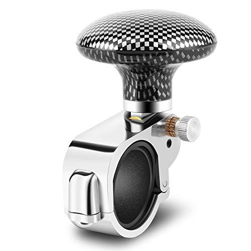 Auto Lenkradknopf, Lenkrad Kugelknopf Spinner Knopf für Lenkrad Spinner Knopf für Auto LKW LKW Traktor (Kohlefaser)(Kohlefaser)