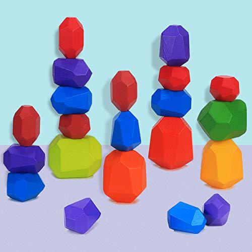 Blocchi di Costruzione di Pietre del Legno Montessori Giochi da Impilare per Bambini Colorato Blocco D'equilibrio in Legno di Pietra Naturale Giocattoli Educativi Impilabile Ornamento (21 pieces)