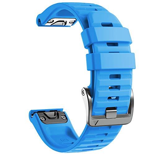 NotoCity Cinturino per Garmin Fenix 6X/Fenix 6X PRO/Fenix 3/Fenix 3 HR/5X/Fenix 5X Plus/, 26mm Cinturino di Ricambio in Silicone, Braccialetto Quick-Fit, Colori Multipli. (Blu)
