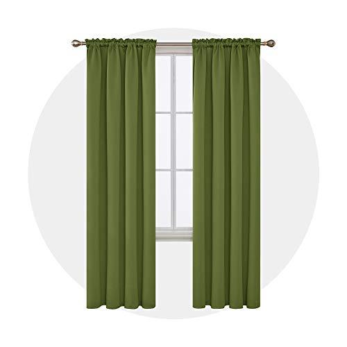 Deconovo Verdunkelungsvorhang mit Stangen, Thermo-Isolierung, Vorhang für Jungenzimmer, 132,1 x 21,9 cm, grasgrün