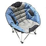 Homecall - Silla redonda de camping plegable, XXL (gris/azul)
