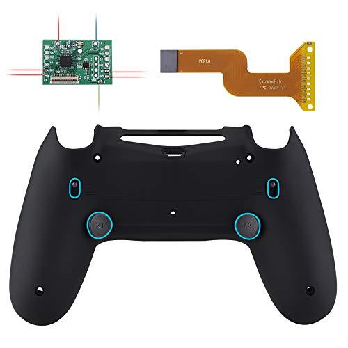 eXtremeRate DAWN2.0 Hülle Case Gehäuse&Upgrade-Board&2 Rücktasten&2 Trigger Lock für Playstation 4 Controller JDM 040/050/055,FlashShot Trigger Stop Remap Kit für PS4 CUH-ZCT2 Controller(M-Schwarz)