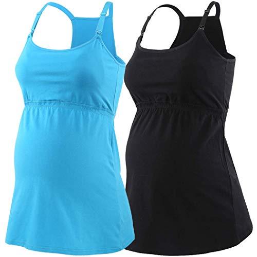 ZUMIY Still-Top, Schwangeres Stillshirt aus Baumwolle- Umstandsmode T-Shirt Damen Still Umstands-Top mit Doppelter Öffnung - Rennfahrer Zurück (XL, Black+Lake Blue/2pk)