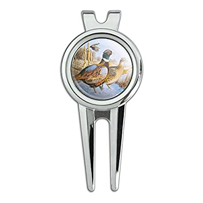 Pheasants in the Snowy Farm Field Golf Divot Repair Tool and Ball Marker