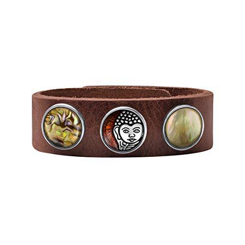 Quiges Damen 18mm Silberne und Lila Click Buttons mit Druckknopf Armband aus Leder Wallnussbraun 19.5-21.5cm