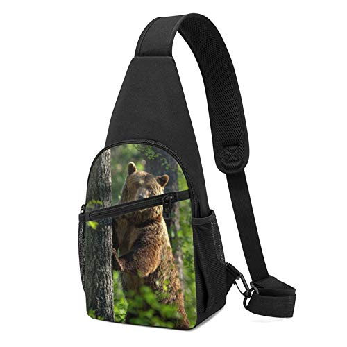 794 Forest Grizzly Sling Bag Chest Shoulder Backpack Crossbody Bags for Men Women Black