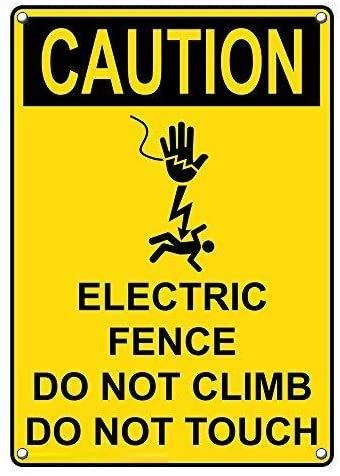 Caution Electric Fence Blechschild Retro Warnschild Vintage Metall Poster Plakette Eisen Malerei Kunst Dekor für Home Cafe Garden Pub Büro 30x20 cm