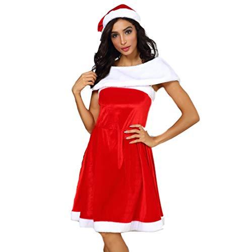 Kerstjurk voor dames, mouwloos, met mouwen en kerstmuts