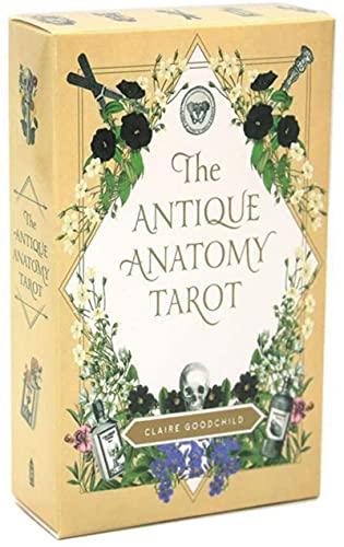 YQRX Anatomía Antigua Tarjetas de Tarot, Tarjetas de Tarot y Libro de Libros introductorios 78 Piezas/Set, Adecuado para reuniones con Familiares y Amigos (Bolsas, manteles)