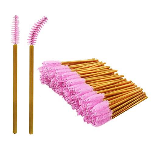 Shintop Einweg Mascara Bürsten, 200 Stück Wimpernbürstchen Silikon für Damen,Mädchen(Gold/Pink)