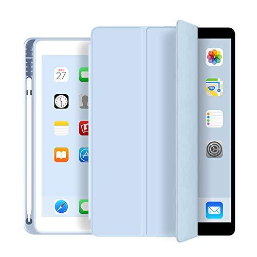 aoub iPad 2018/2017 9,7 Zoll Hülle Fallwiderstandsfähig & verschleißfest Eingebauter Stifthalter Smart Schutzhülle aus Silikon mit Schlafen/Wachen Geeignet für iPad 5. & 6. Generation 9.7,Hellblau