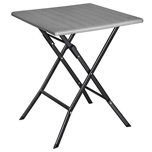 SONGMICS Klapptisch, Kleiner Gartentisch mit imitierter Holzmaserung, aus HDPE-Kunststoff, wasserfest, stabile Eisenbeine, hufartige Standfüße, Sicherheitsriegel, 62 x 62 x 73 cm, grau GPT04GY